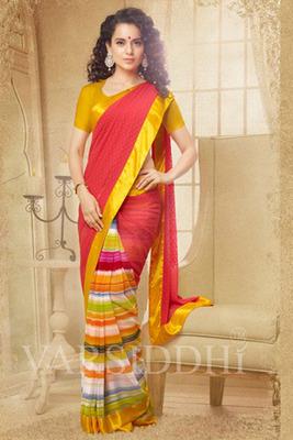 Multi Coloured Georgette Printed Saree