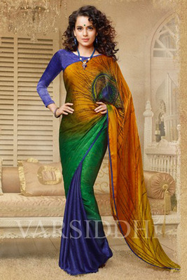 Tri Coloured  Peacock Feather Print Georgette Saree