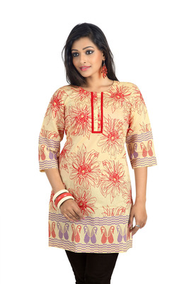Cream Cotton Flower Printed Kurti
