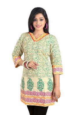 Beige Colour Flower Printed Cotton Kurti