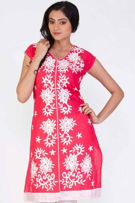 Light Amaranth Red Cotton Embroidered Party and Festival Kurti