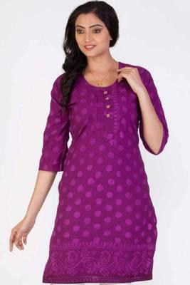 Light Purple and deep Fuchsia Pink Cotton Printed Kurti