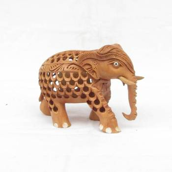 eCraftIndia Wooden Mother Elephant with Baby Elephant
