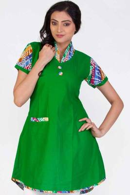 Lime Green Cotton Printed Casual and Party Kurti