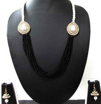 Black Pearl Two Side Brooch Jhumka necklace set