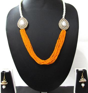 Yellow Pearl Two Side Brooch Jhumka necklace set