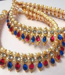 Pink and Blue Tilak Golden Pearl Anklet