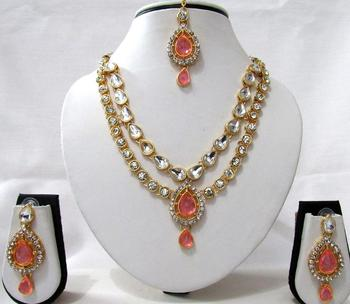 Pink 2 Line Tilak Stone Necklace Set