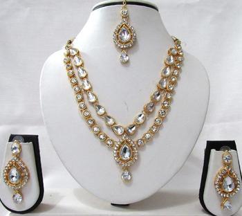 White 2 Line Tilak Stone Necklace Set