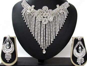 White Stone Party Wear Necklace Set