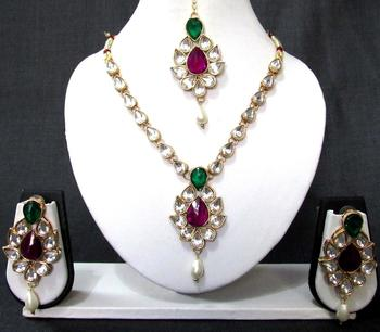 White Drop Pink and Green Stone Necklace Set