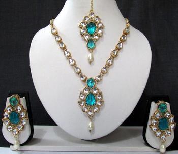 White Drop Sky Blue Stone Necklace Set