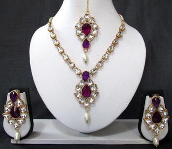 White Drop Purple Stone Necklace Set