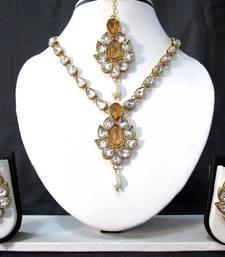 Buy White Drop Yellow Stone Necklace Set necklace-set online
