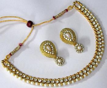 Golden White Stone Nice Polki Necklace Set