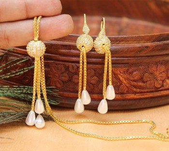 Royal Designer Pendant Set With Earrings