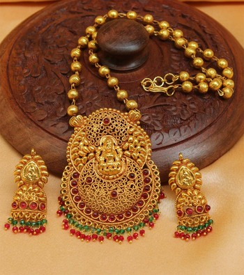 4c8bb54334 Gorgeous Geru Polish One Gram Gold plated Temple Pendant set - URSHI  COLLECTIONS - 1480689