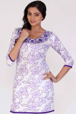 Off-white and Mauve Violet Cotton Printed Casual and Party Kurti