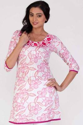 Off-white and Persian Pink Cotton Printed Casual and Party Kurti