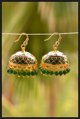 Oxisidised Multicolour jhumka earrings