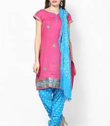 Buy Cotton Hand Work Unstitched Salwar Suit dress-material online
