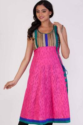 Persian Rose Pink Cotton Embroidered Party and Festival Kurti