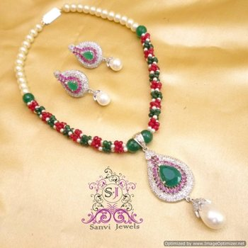 Beautiful Ruby & Emerald Necklace Set
