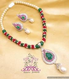 Buy Beautiful Ruby & Emerald Necklace Set  Necklace online