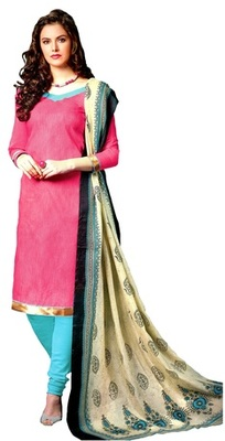 Pink Embroidered Jute Unstitched Salwar With Dupatta