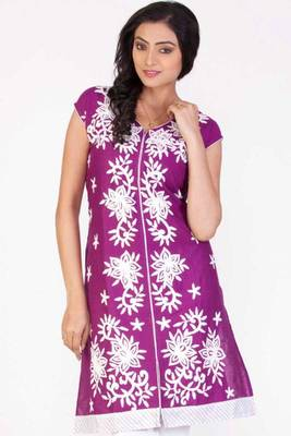 Red-violet Cotton Embroidered Party and Festival Kurti