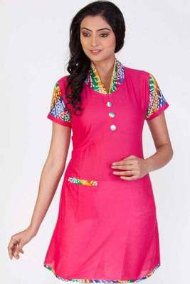Rose Pink Cotton Printed Casual and Party Kurti