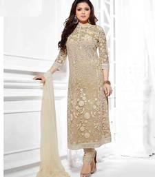 Buy Cream georgette embroidered semi stitched salwar with dupatta salwar-kameez-below-2000 online