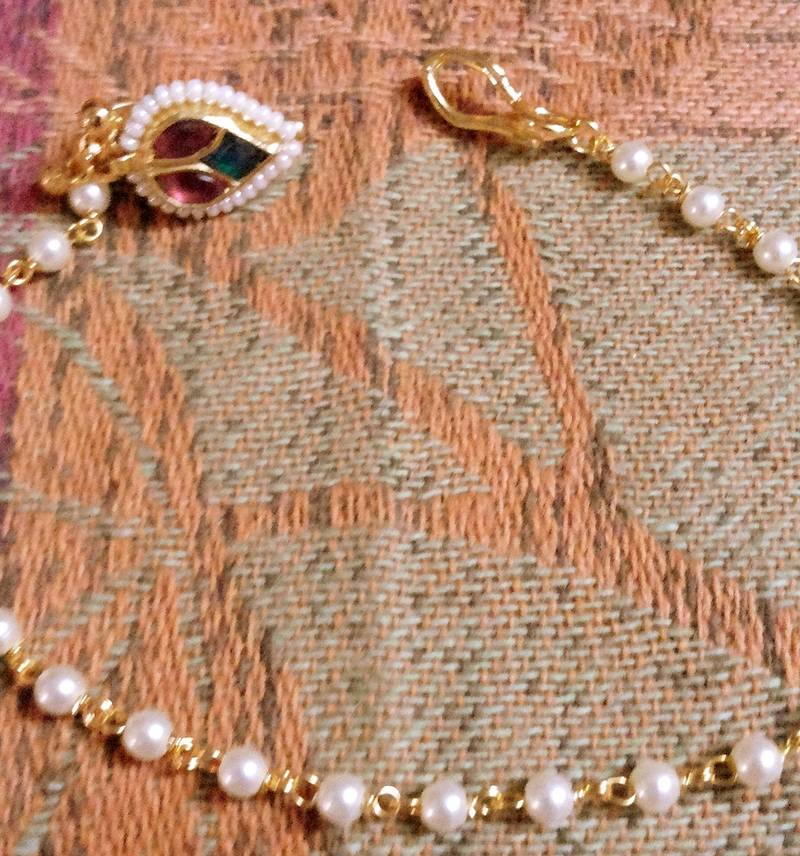 Indian Kundan Smart Spring Elegant Non Piercing Nath With Pearl