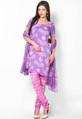 Amazing Pink Purple Bandhni Design Dress Material