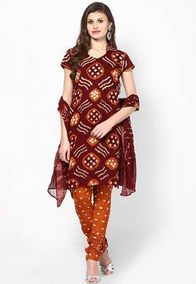 Brown Cotton Bandhni Design Dress Material