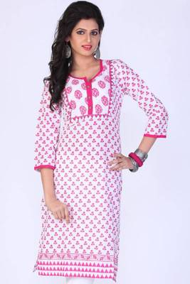 Off-white and Deep Pink Cotton Printed Casual and Party Kurti