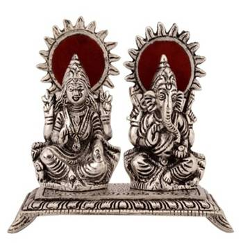 eCraftIndia White Metal Statue of Laxmi and Ganesha