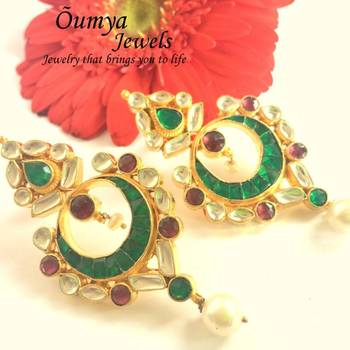 Kundan green-pink earrings