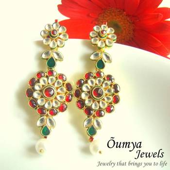 Red Kundan Flower Earrings
