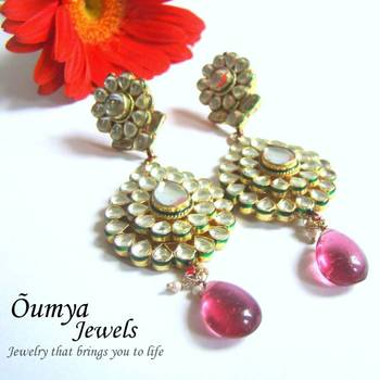 Kundan Flower Earrings with Magenta Pink drops