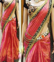 Buy Orange embroidered Paper Silk saree With Blouse women-ethnic-wear online