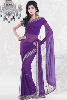Amethyst Violet Faux Georgette Embroidered Party and Festival Saree