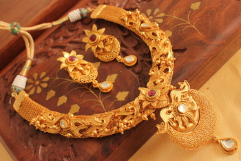 Royal One Gram Gold Plated Real Kundan Designer Necklace Set
