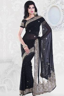 Black Faux Georgette Embroidered Party and Festival Saree