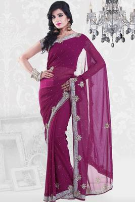 Byzantium Purple Faux Georgette Embroidered Party and Festival Saree
