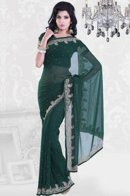Hunter Green Faux Georgette Embroidered Party and Festival Saree