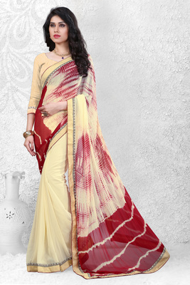 Cream embroidered nazneen saree with blouse