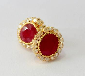 BEAUTIFUL RED RUBY POLKI STONE STUDDED TOPS FROM HYDERABAD JEWELS