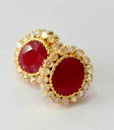Buy BEAUTIFUL RED RUBY POLKI STONE STUDDED TOPS FROM HYDERABAD JEWELS stud online