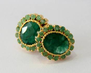 BEAUTIFUL EMRALD GREEN STONE STUDDED TOPS FROM HYDERABAD JEWELS